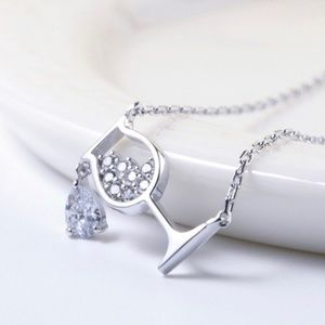 Silver Tone Wine Glass Crystal Pendant Necklace